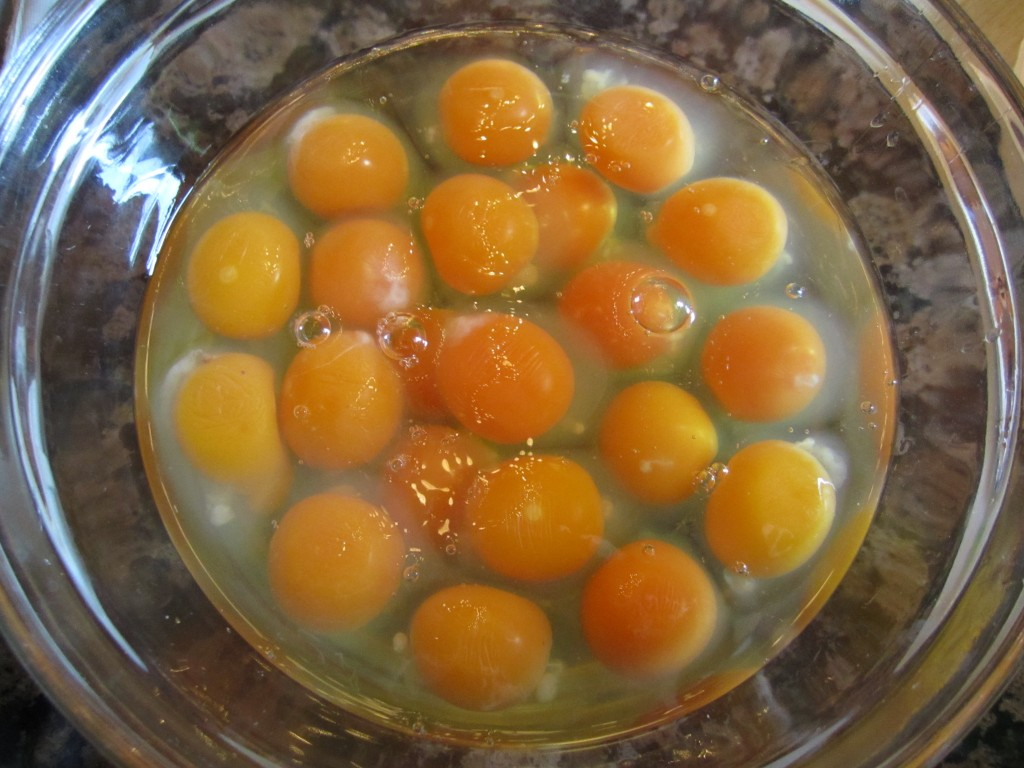 our delicious, orange aurora eggs, waiting to be scrambled for a yummy brunch!