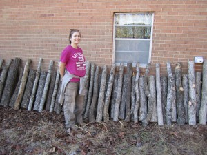 our drying oak logs (with emma)!