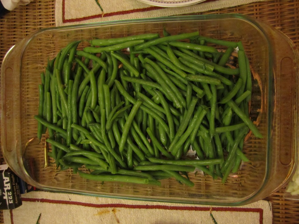freshly served, steaming greenbeans doused with coconut oil and salt!