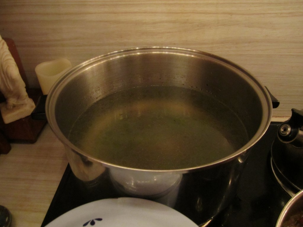 greenbean water, still in the pot. though it may look funky, we promise it tastes amazing!