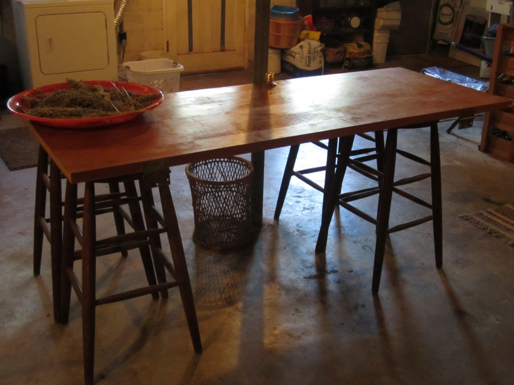 here is the table... back in the basement and without its table cloth